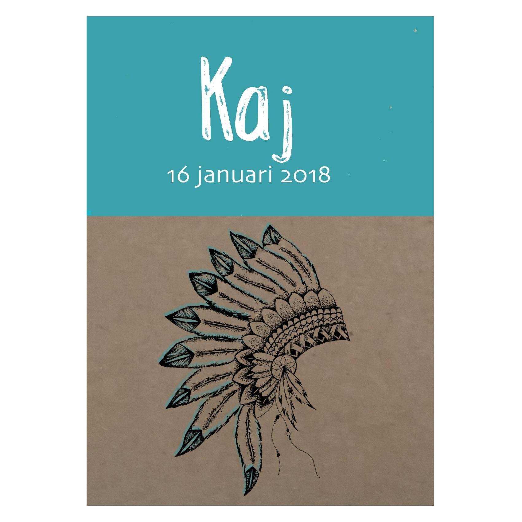 Knapzak Design - Geboortekaartje Indianentooi voorkant