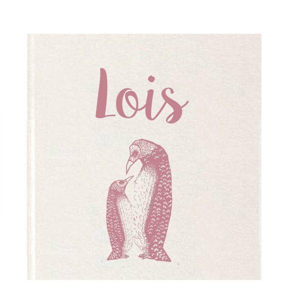 Geboortekaartje pinguins oud roze
