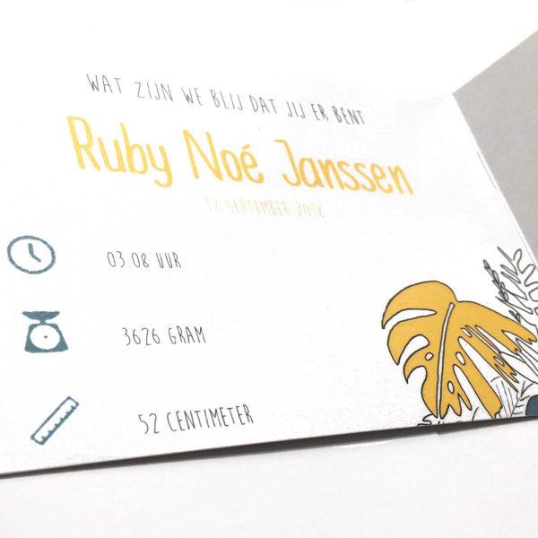 GEboortekaartje Ruby binnenkant