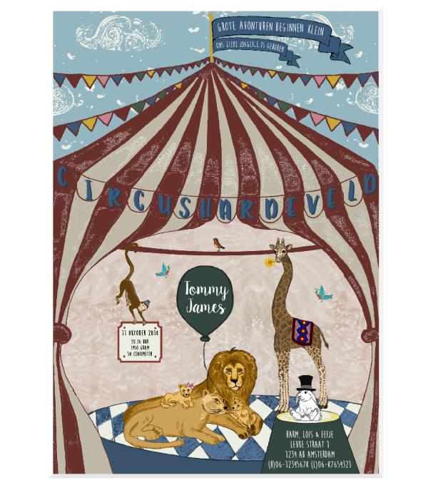 Geboortekaartje Circus