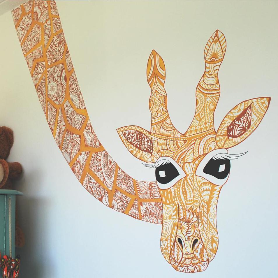 Muurschildering Giraffe
