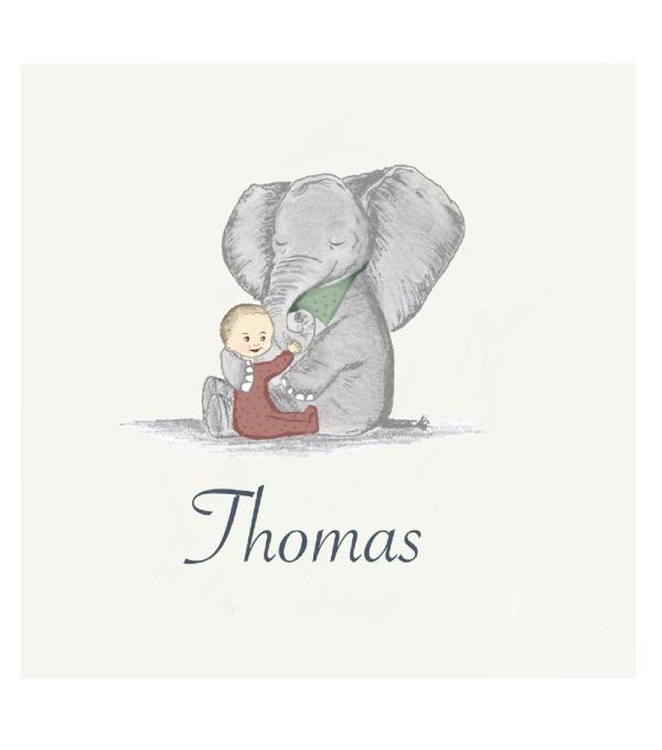 Geboortekaartje olifant voorkant