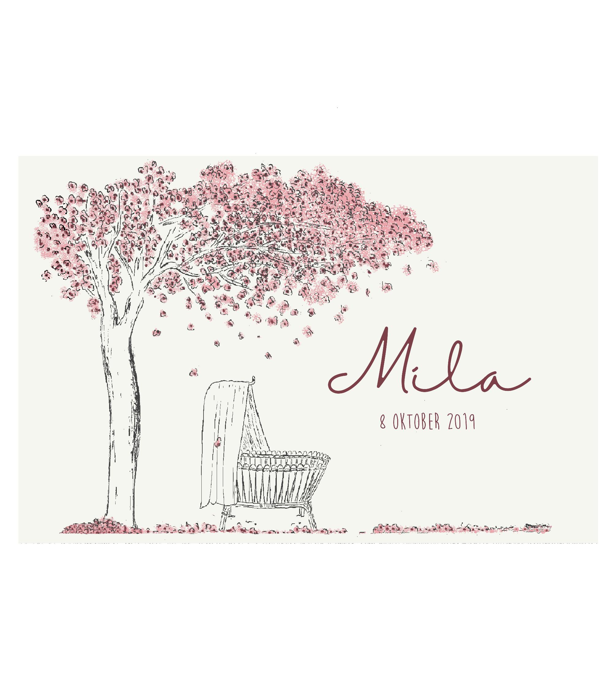 Geboortekaartje voorkant wieg met bloesemboom duurzaam papier