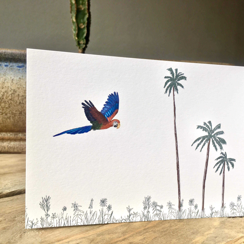 geboortekaartje rosa binnenkant papegaai duurzaam papier