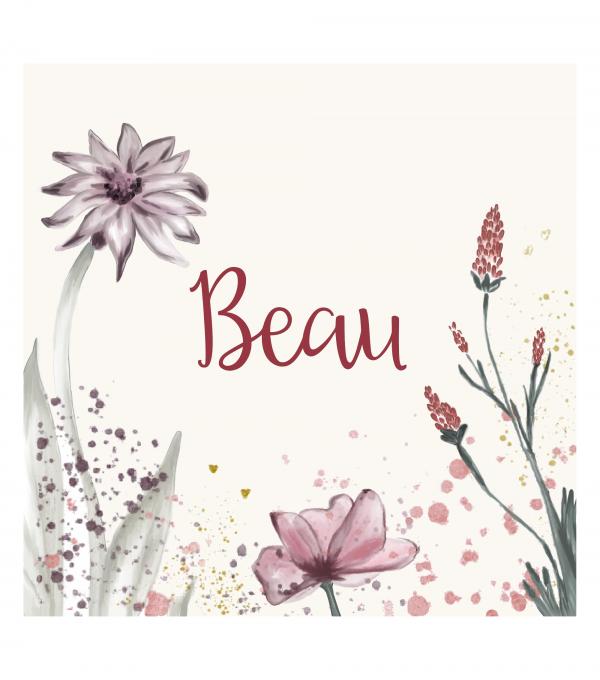 Geboortekaartje bloemen, flowers, Beau voorkant