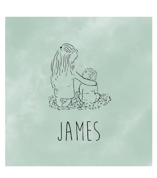geboortekaartje broertjes James voorkant