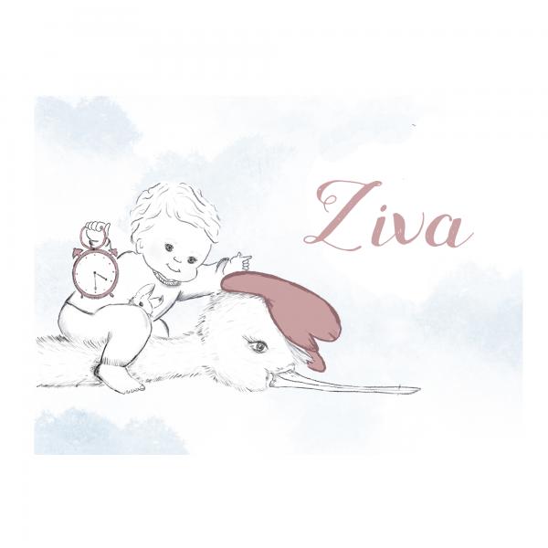 Duurzaam geboortekaartje persoonlijk Ziva voorkant
