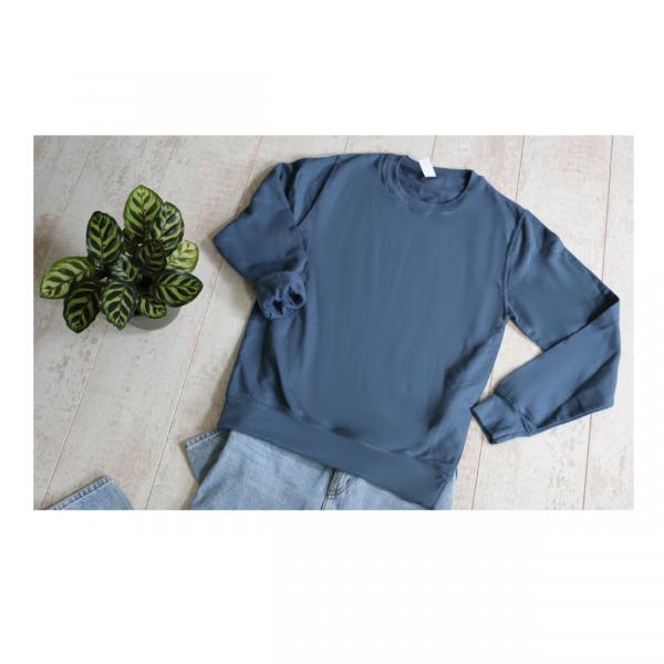 Tweedehands sweater knapzak oudblauw