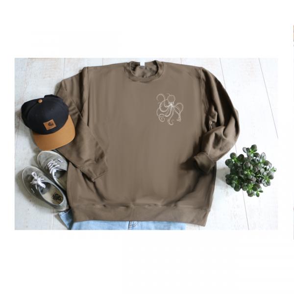 Tweedehands, sweater knapzak octopus olijfgroen