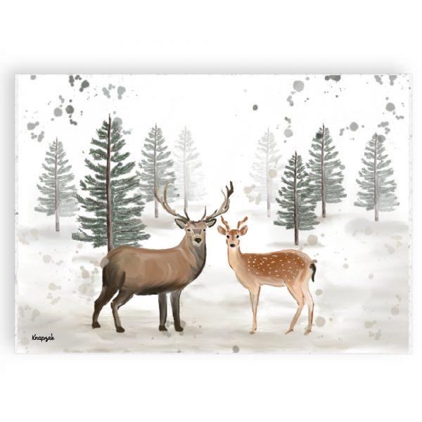 Kerstkaart op groeipapier eland en hert