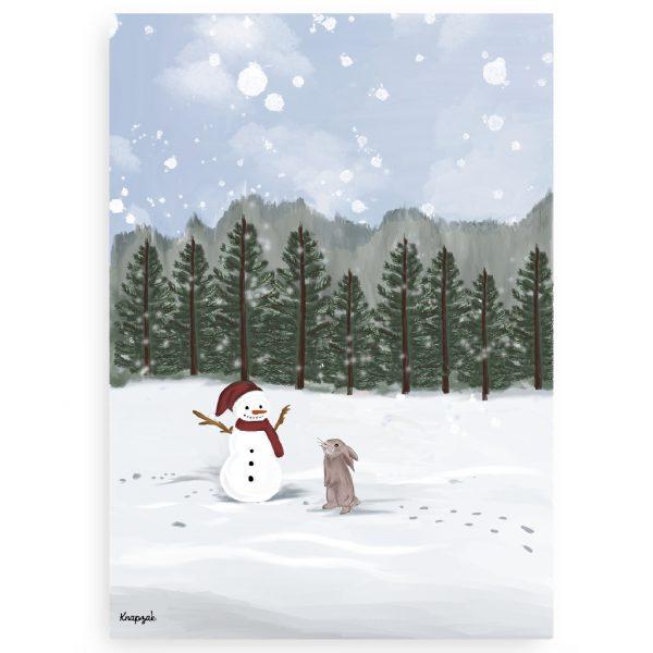 Kerstkaart op groeipapier sneeuwpop met konijntje