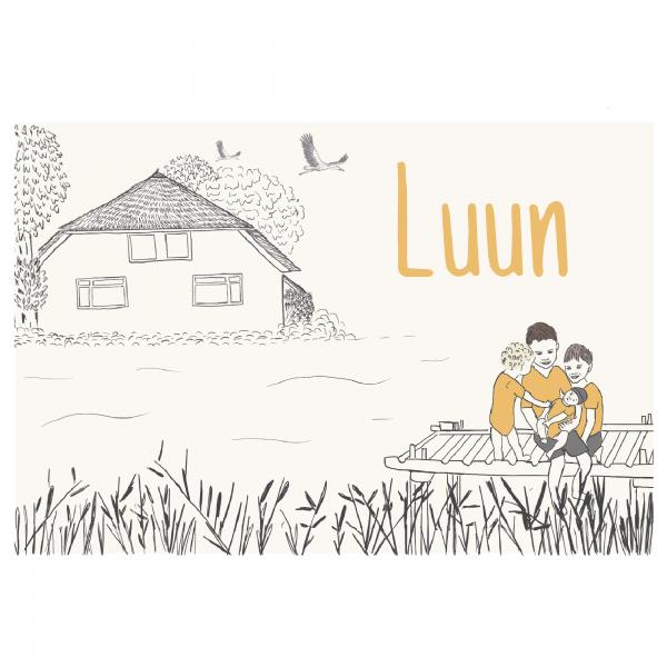 Duurzaam geboortekaartje dubbel voorkant Luun