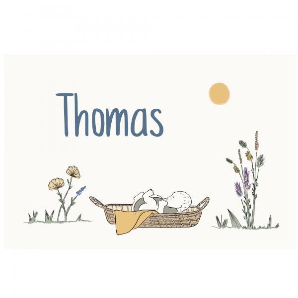 Duurzaam geboortekaartje thomas voorkant