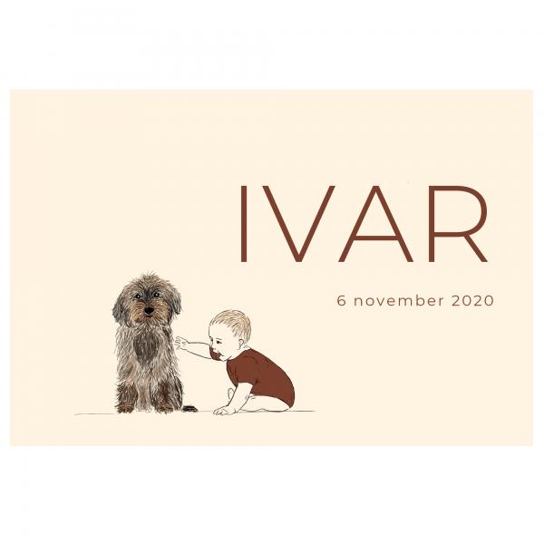 Duurzaam geboortekaartje dubbel voorkant Ivar