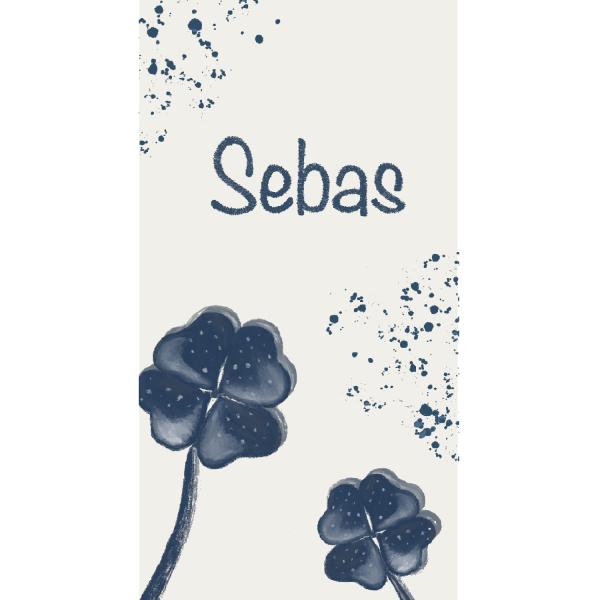 Geboortekaartje Sebas enkel voorkant duurzaam