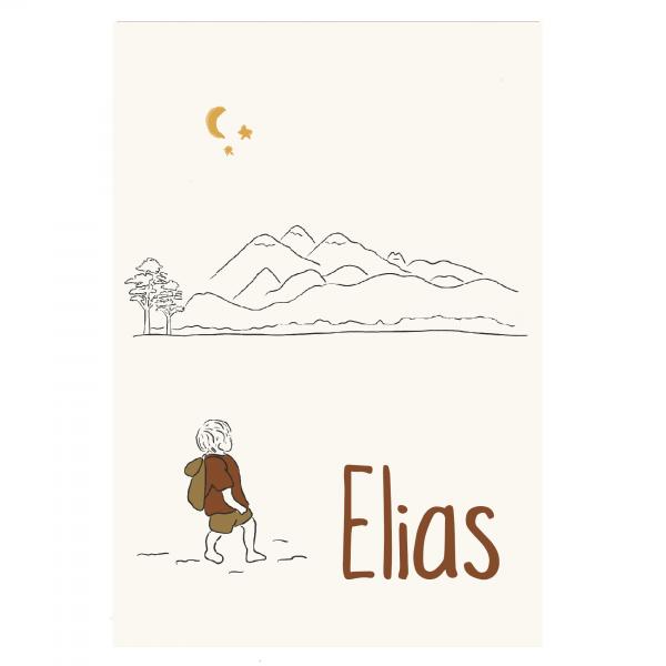 Duurzaam persoonlijk geboortekaartje Elias voorkant