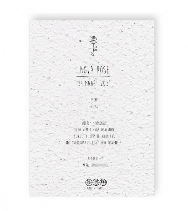 Website geboortekaartje Nova Rose achterkant