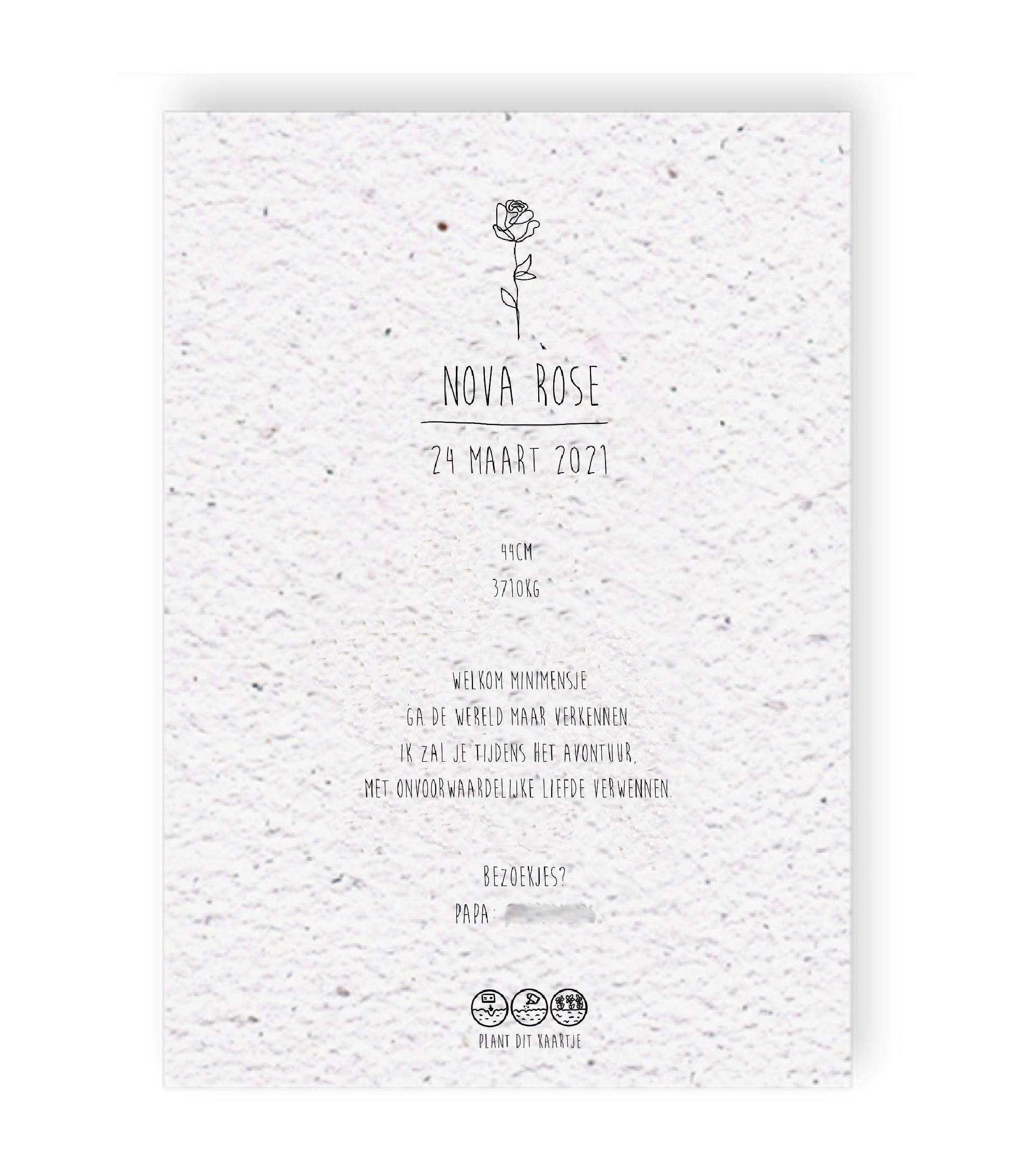 Duurzaam geboortekaartje op groeipapier achterkant Nova Rose