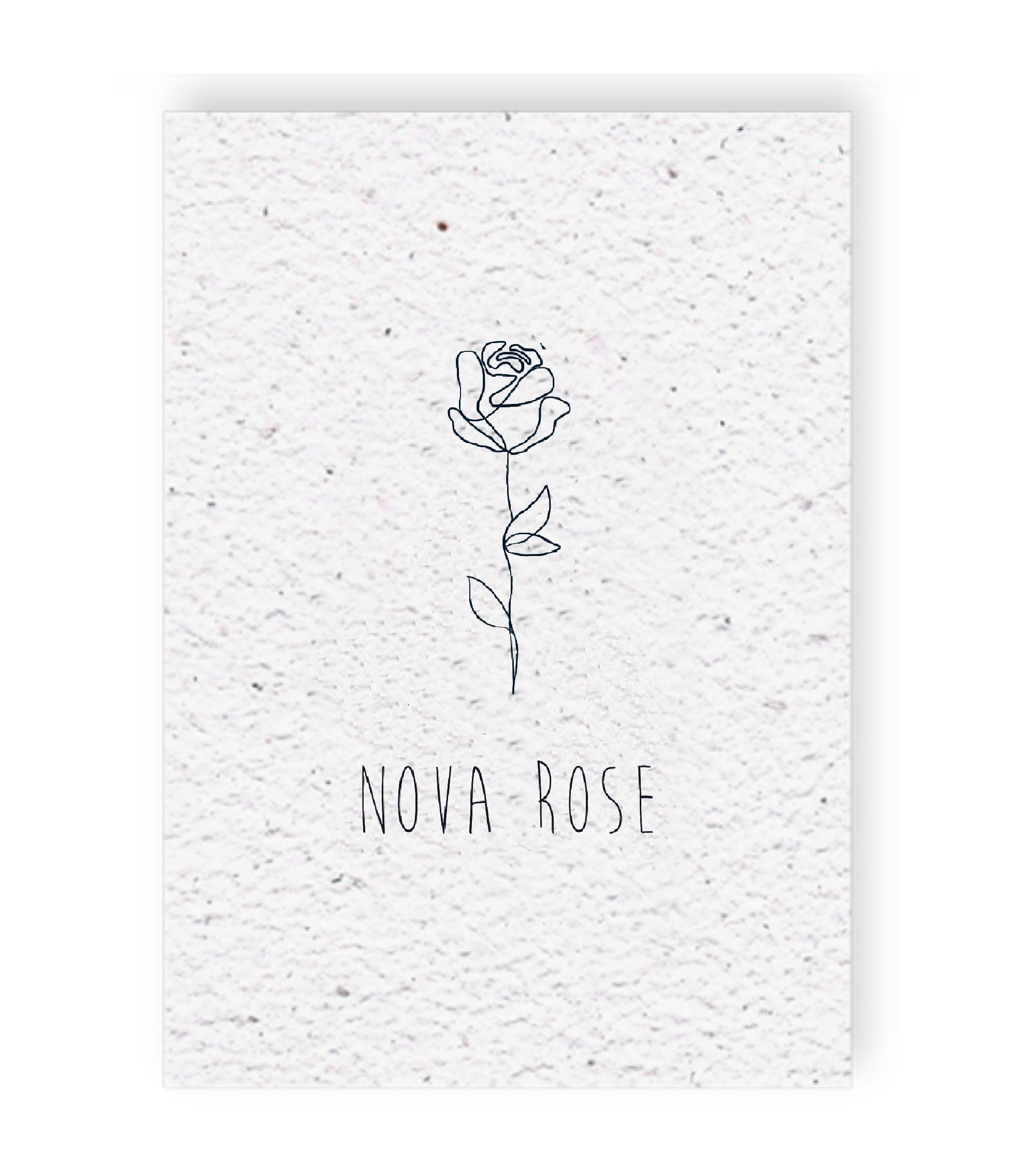 Duurzaam geboortekaartje op groeipapier voorkant Nova Rose
